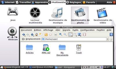 Onglet Multimedia avec Konqueror